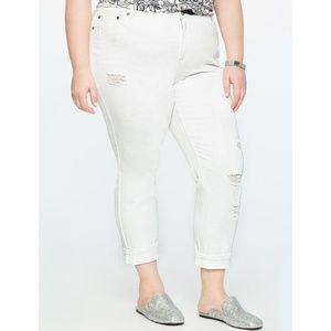 Eloquii Distressed Cuffed Jeans White Stretch Crop